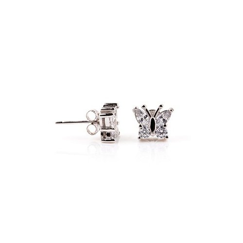 Sterling Silver CZ Assorted butterfly stud earring (ST-1208)