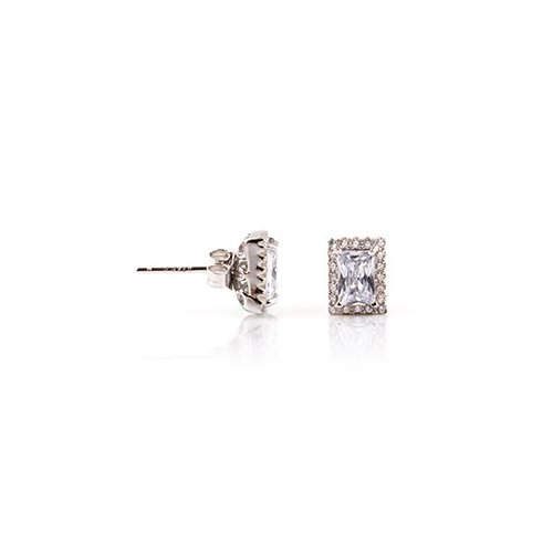 Sterling Silver CZ assorted rectangle stud earring(ST-1209)