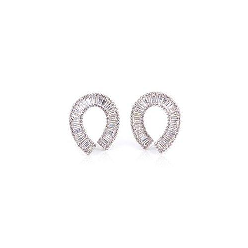 Sterling Silver Baguette CZ Assorted Fancy Evening Stud Earrings (ER-1300-F)