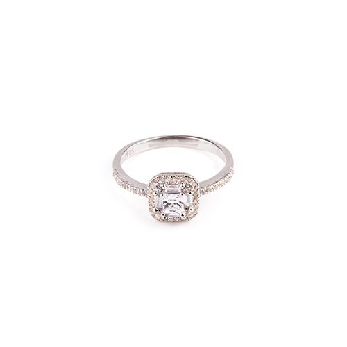 Sterling Silver CZ Square Stone Ring (R-1503)