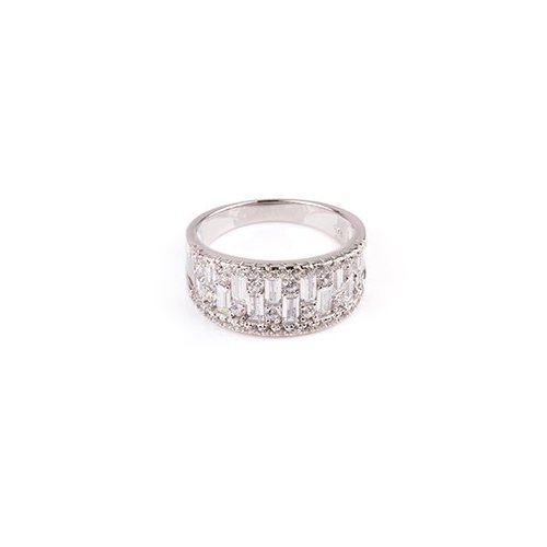 Sterling Silver Baguette CZ Crystal Surrounded Ring (R-1504)