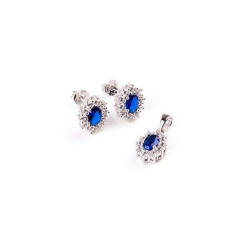 Sterling Silver CZ Sapphire Pendant Set (PS-1042-S)