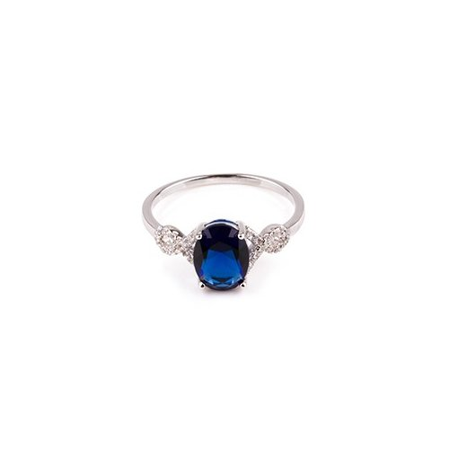 Sterling Silver CZ surrounded sapphire ring (R-1508-S)