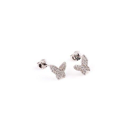 Sterling Silver CZ butterfly stud earring (ST-1210)