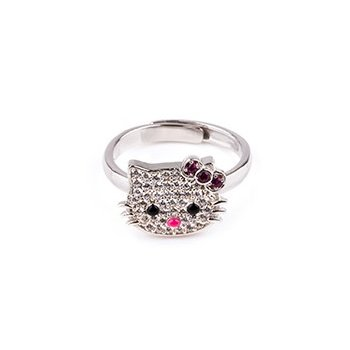 Sterling Silver CZ Hello Kitty Ring (R-1510)