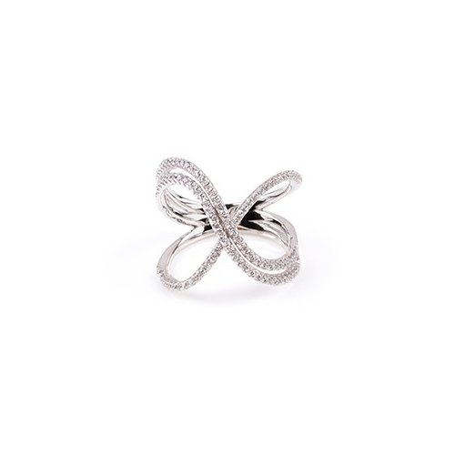 Sterling Silver CZ crossover ring (R-1516)