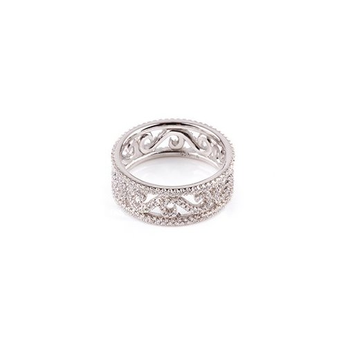 Sterling Silver CZ Wave Pattern Ring (R-1521)