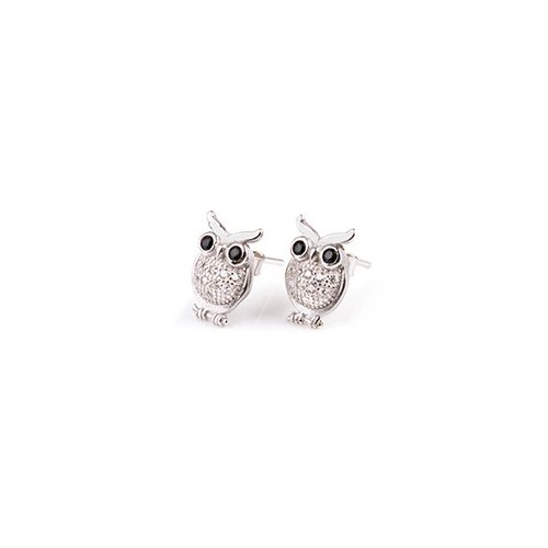 Sterling Silver Owl with Black CZ Eyes Stud Earrings (ST-1211)