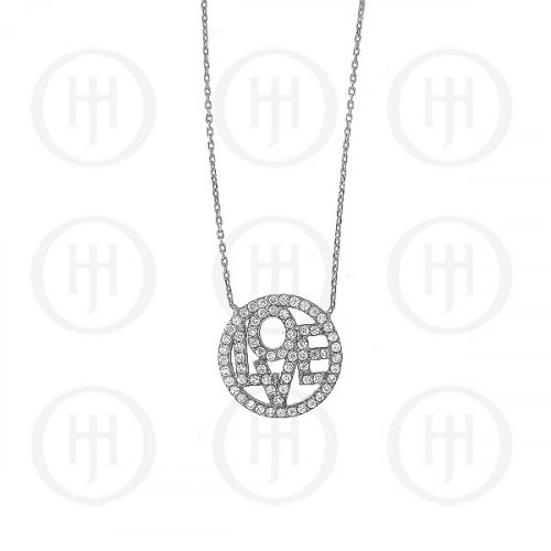 Silver Rhodium Plated Love Necklace (N-1021)