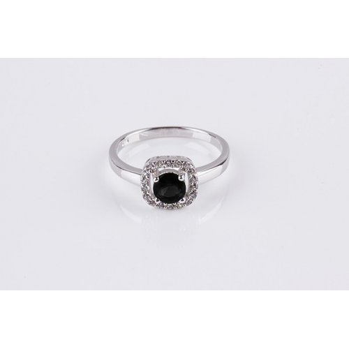 Silver Black CZ Ring (R-1506-B)