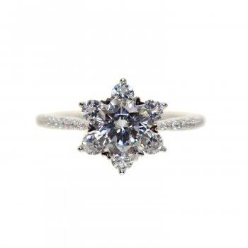 Silver CZ Flower Ring (R-1517)