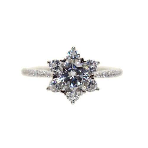 Silver CZ Flower Ring (R-1517)