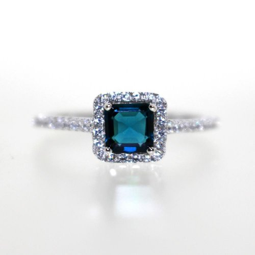 Silver Sapphire Gemstone CZ Square Ring (R-1527-S)