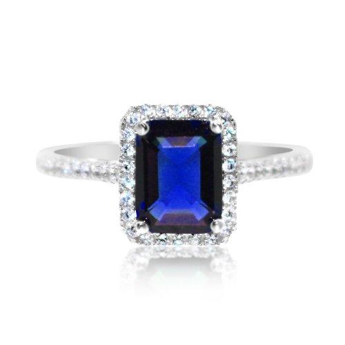 Silver Sapphire Gemstone Rectangular CZ Ring(R-1528-S)