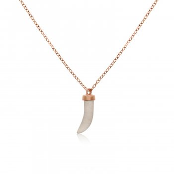 Rose Gold Plated Sterling Silver and Rose Quartz Dagger Necklace (N-1207-R-RQ)