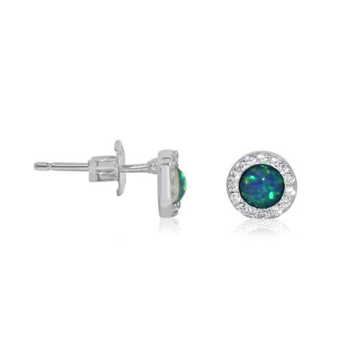 Silver Stone Halo Opal Studs Earrings (ST-1226)