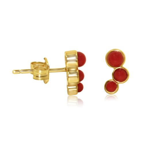 Gold Silver Stone Coral Studs Earrings (ST-1227-G-C)