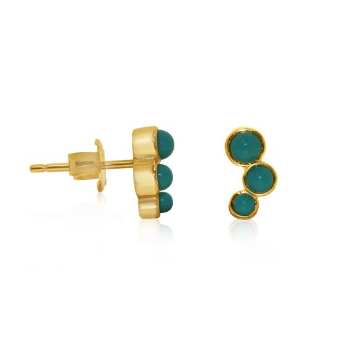 Silver Stone Turquoise Studs Earrings (ST-1227-G-TQ)