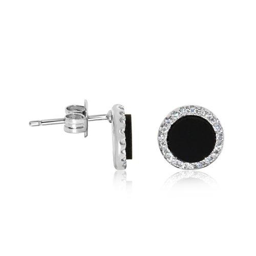 Stone Cz Silver Black Onyx Halo Studs Earrings (ST-1229-BO)