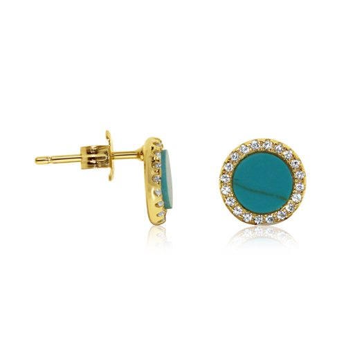 Gold Stone Cz Silver Turquoise Halo Studs Earrings (ST-1229-G-T)