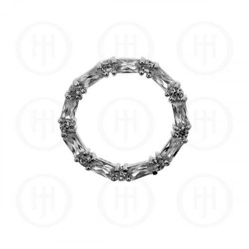 Silver CZ Baguette Circle of Life Pendant (P-1111)