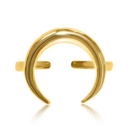 Sterling Silver Plain Cresent Ring Gold Plated (R-1343-G)