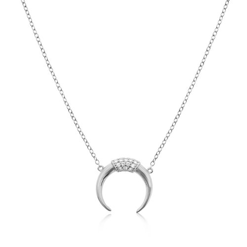 Sterling Silver CZ Crescent Necklace (N-1211)