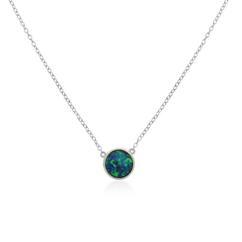 Silver Rhodium Plated Round Opal Necklace (N-1215)