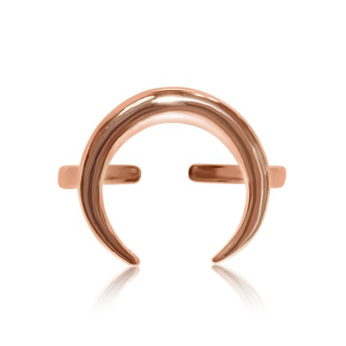 Sterling Silver Plain Cresent Ring Rose Gold Plated (R-1343-R)
