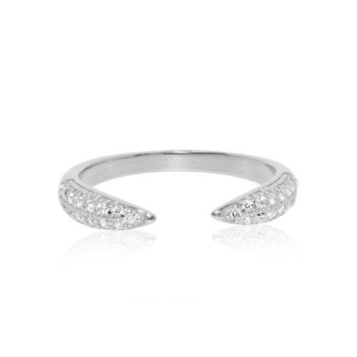Sterling Silver CZ Tusk Ring (R-1348)