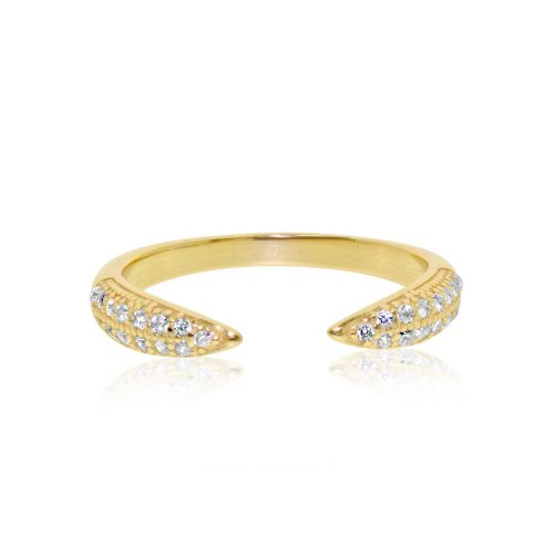 Gold Plated Sterling Silver CZ Tusk Ring (R-1348-G)
