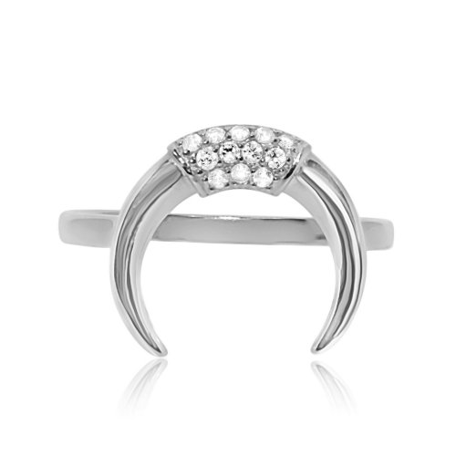 Sterling Silver CZ Crescent Ring (R-1344)