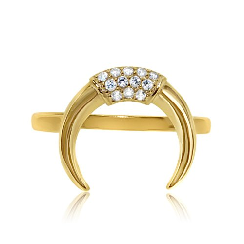 Sterling Silver CZ Crescent Ring Gold Plated (R-1344-G)