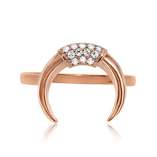 Sterling Silver CZ Crescent Ring Rose Gold Plated (R-1344-R)