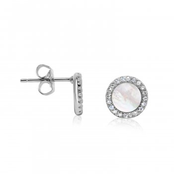 Stone Cz Silver Mother of Pearl Halo Studs Earrings (ST-1229-MP)