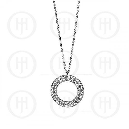 Silver Rhodium Plated Necklace w/Cubic Zirconia Circle (N-RH-1005)