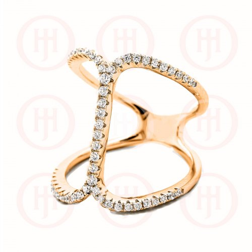 Rose Gold Plated Sterling Silver Trendy CZ Ring (R-1322-R)