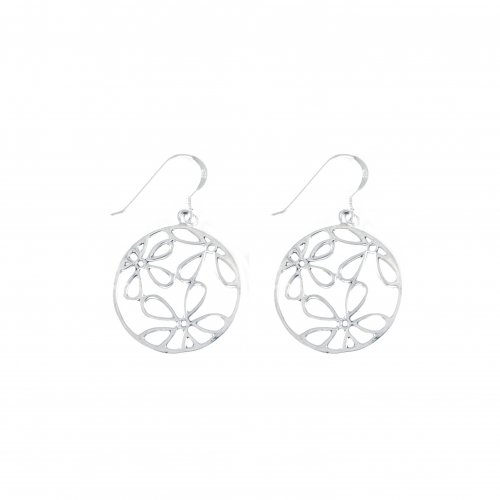 Silver Plain Flower Dangle Earring(ER-1221)