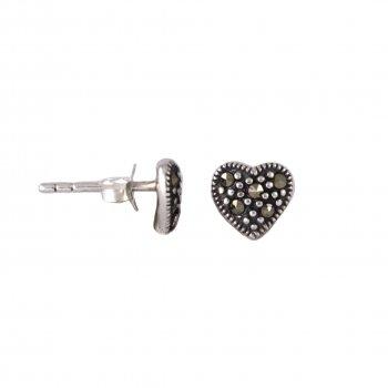Silver Heart Black CZ stud earrings(ST-1224)