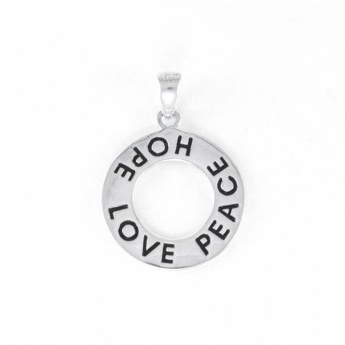 Silver Circular Peace, Hope, love pendant (P-1045)