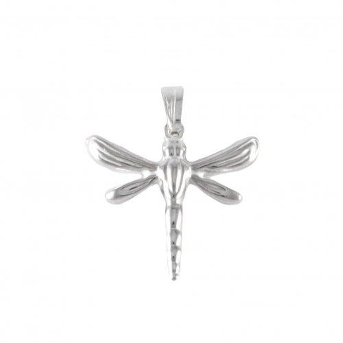 Plain Silver Dragonfly Pendant(P-1337)