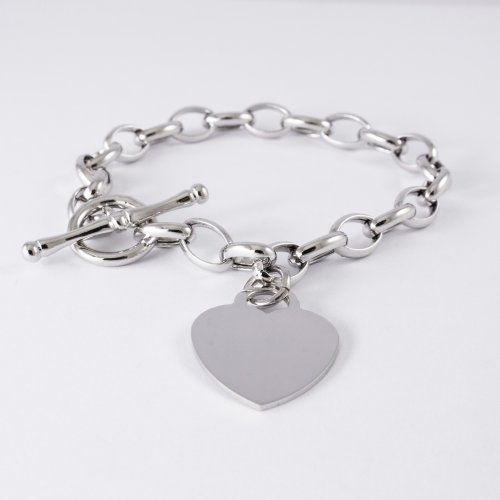 Tiffany Oval Chain Bracelet with Attached Heart Pendant and Straight Bar Wrist (BR-1184)