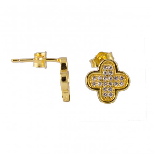 Silver Gold Plated CZ Van Kleef Inspired Stud Earrings(ST-1199-G)