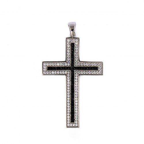 Silver and Black cz Cross Pendant(CR-1040-W)