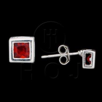 Silver CZ Stud Earrings Square Bezel Garnet 5mm 15-50