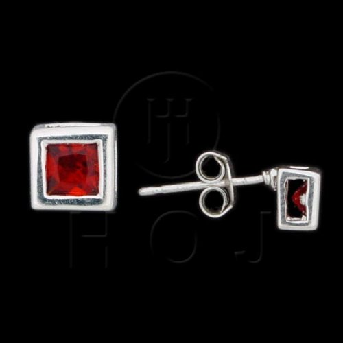 Silver CZ Stud Earrings Square Bezel Garnet 5mm 15-50