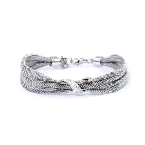 Sterling Silver Fancy Italian Mesh w/ CZ crystals Bracelet (BR-1062)