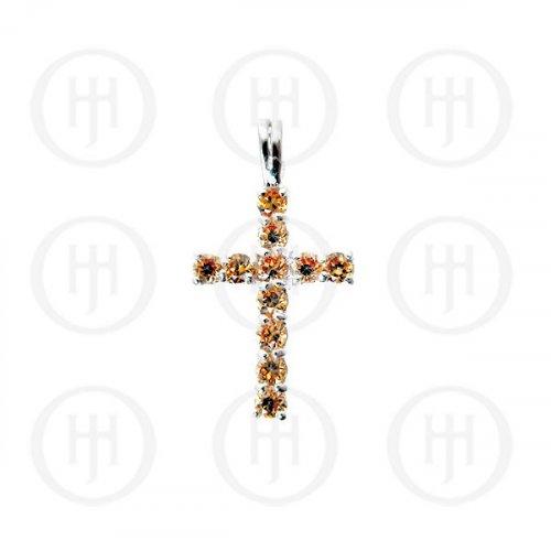 Silver Cubic Zirconia Religious Cross Pendant CR-1019-C