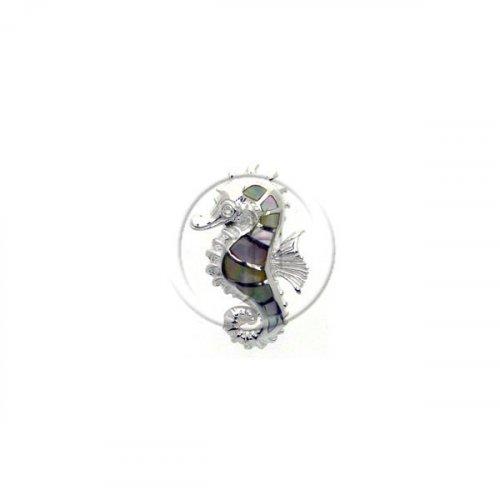 Silver DiamondCut Nautical Animal Charm Seahorse P-1243