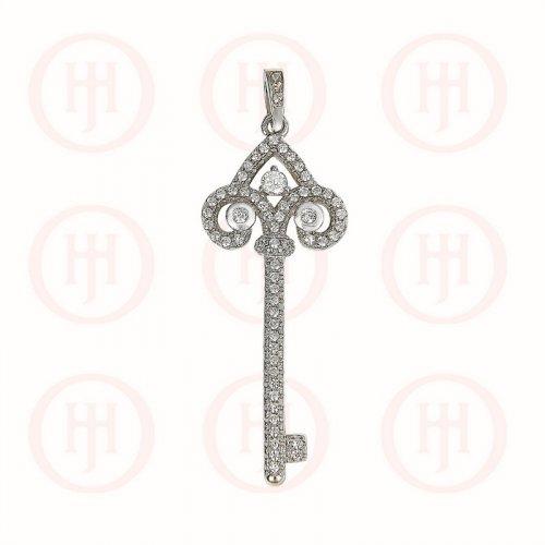 Silver CZ Key Pendant (P-1183)